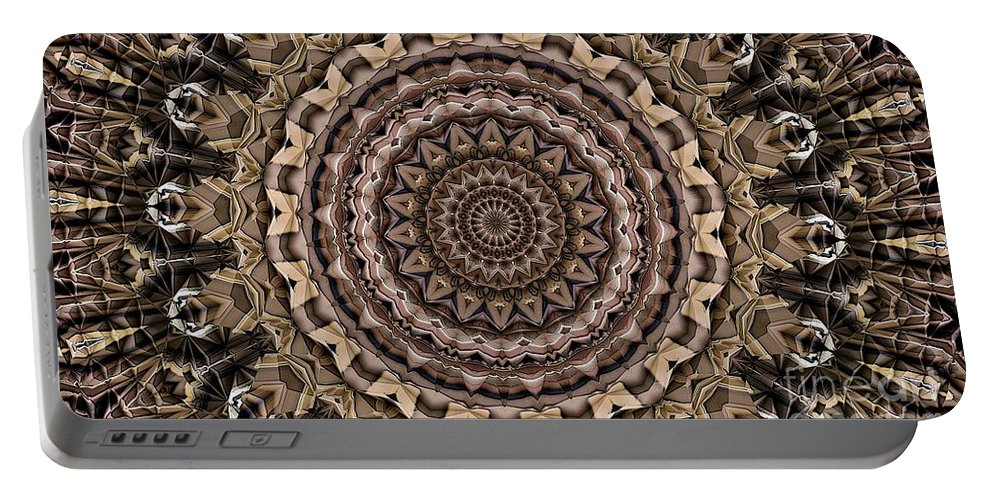 Kaleidoscope Portable Battery Charger featuring the digital art Kaleidoscope 49 by Ron Bissett