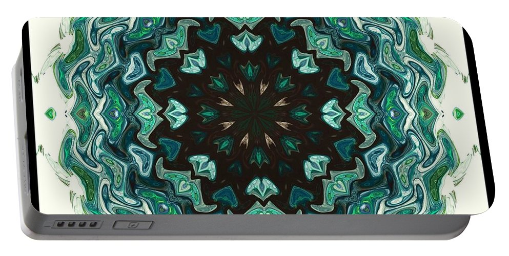 Kaleidoscope Portable Battery Charger featuring the digital art Kaleidoscope by Elizabeth McTaggart