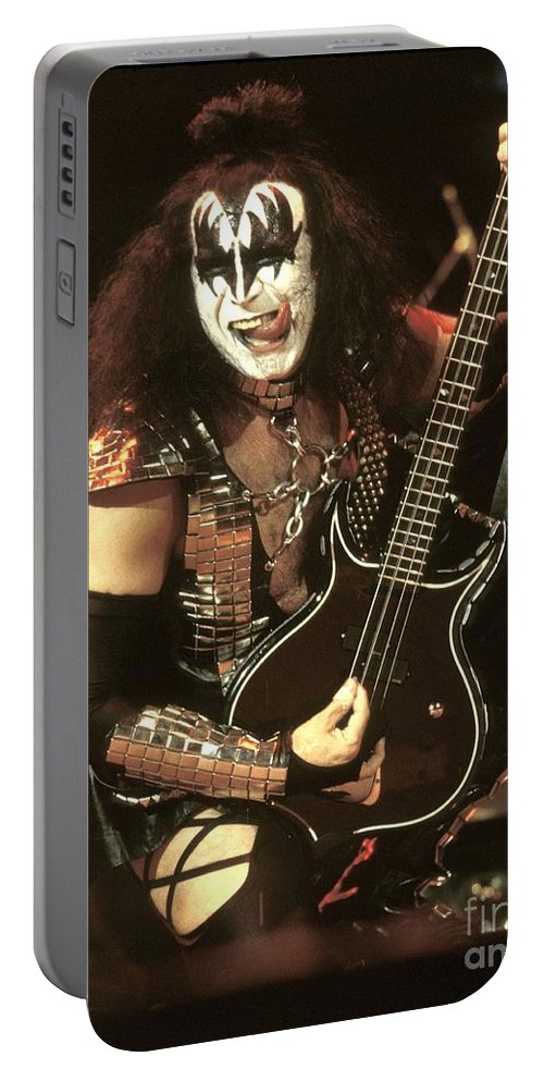Hard Rock Portable Battery Charger featuring the photograph Kiss - Gene Simmons by Concert Photos