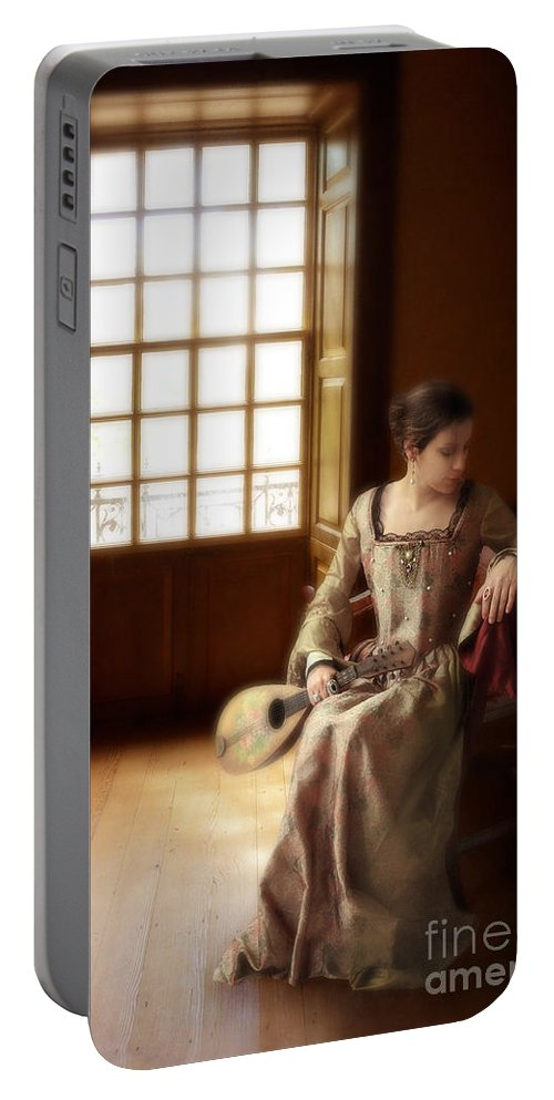 Woman Portable Battery Charger featuring the photograph Lady In 16th Century Clothing With A Mandolin by Jill Battaglia