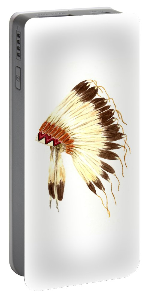 Ative American Indian Portable Battery Charger featuring the painting Lakota Headdress by Michael Vigliotti