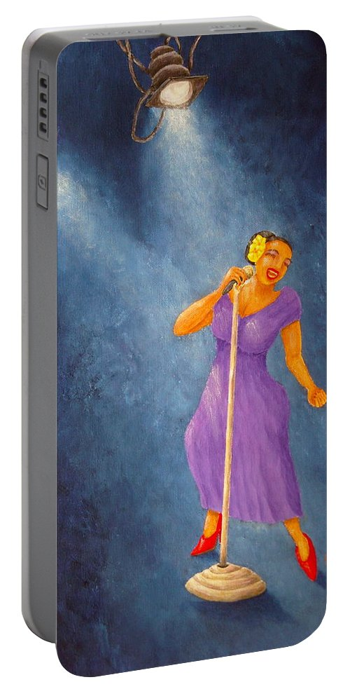 Pamela Allegretto Portable Battery Charger featuring the painting Latina Jazz Diva by Pamela Allegretto