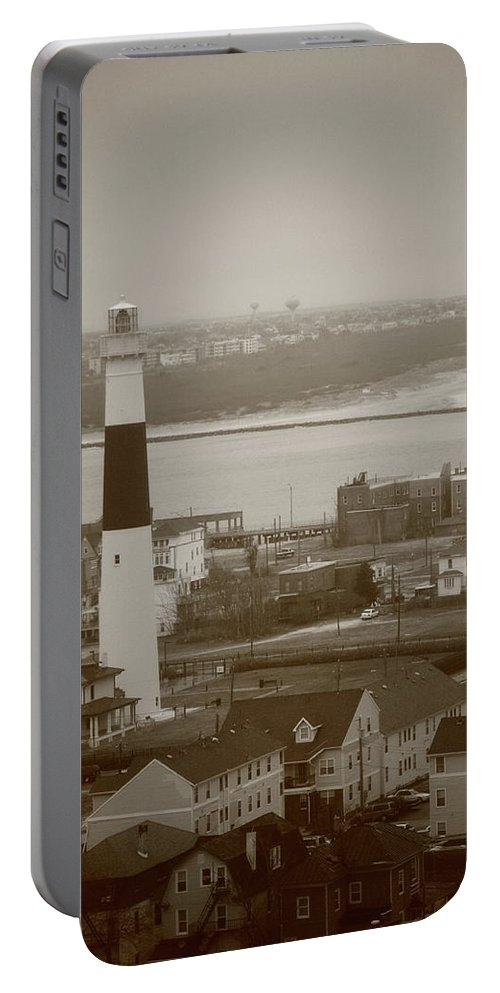 Absecon Portable Battery Charger featuring the photograph Lighthouse - Atlantic City by Frank Romeo