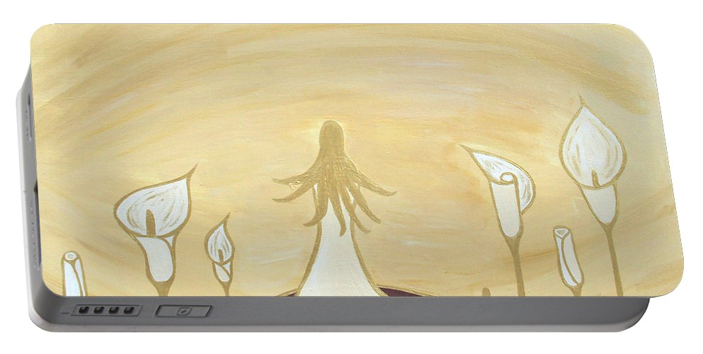 Lady Portable Battery Charger featuring the painting Lilies Of The Field by Angelina Vick