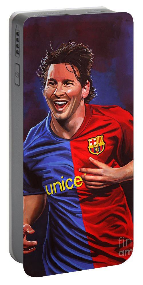 Lionel Messi Portable Battery Charger featuring the painting Lionel Messi by Paul Meijering