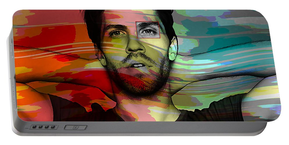 Lo Fang Mixed Media Portable Battery Charger featuring the mixed media Lo Fang Matthew Hemerlein by Marvin Blaine