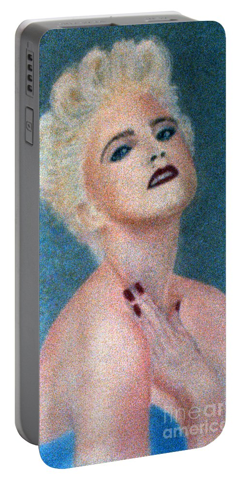 Madonna Portable Battery Charger featuring the pastel Madonna The Early Years by Bill Holkham