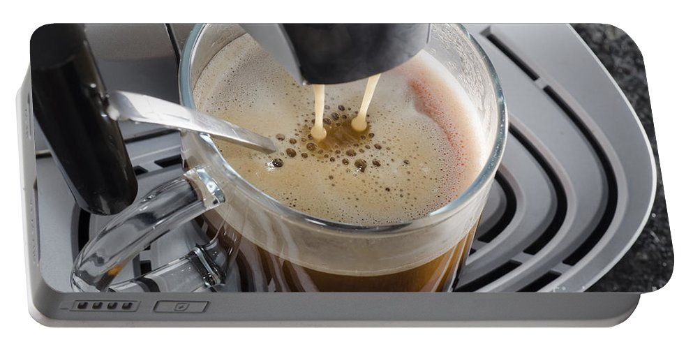 Coffee Machine Portable Battery Charger featuring the photograph Making A Coffee by Mats Silvan