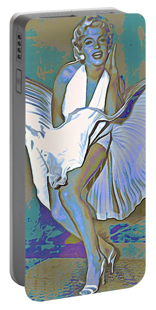 Fli Portable Battery Charger featuring the painting Marilyn Monroe by Fli Art