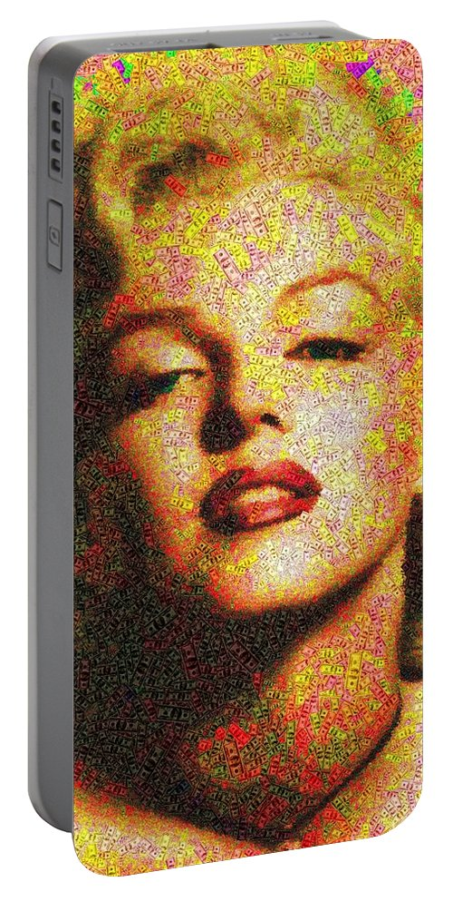 Marilyn Portable Battery Charger featuring the painting Marilyn Monroe - 100 Dollars by Samuel Majcen