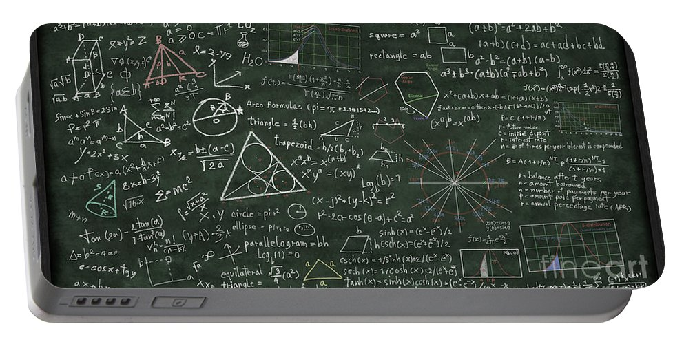 Algebra Portable Battery Charger featuring the digital art Maths Formula On Chalkboard by Setsiri Silapasuwanchai