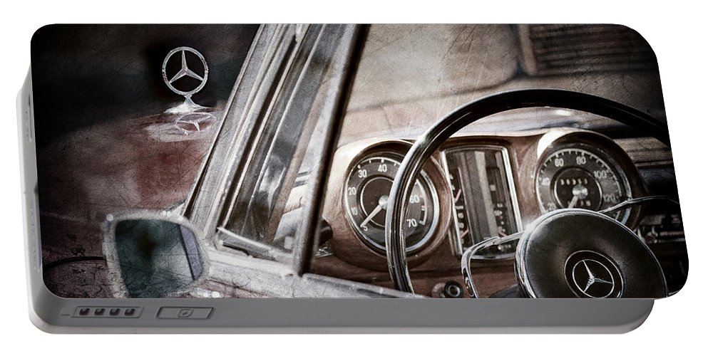 Mercedes-benz 250 Se Steering Wheel Emblem Portable Battery Charger featuring the photograph Mercedes-benz 250 Se Steering Wheel Emblem by Jill Reger