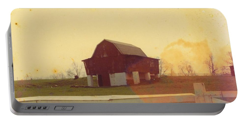 Built On Hillside Portable Battery Charger featuring the photograph Michigan Barn by Robert Floyd