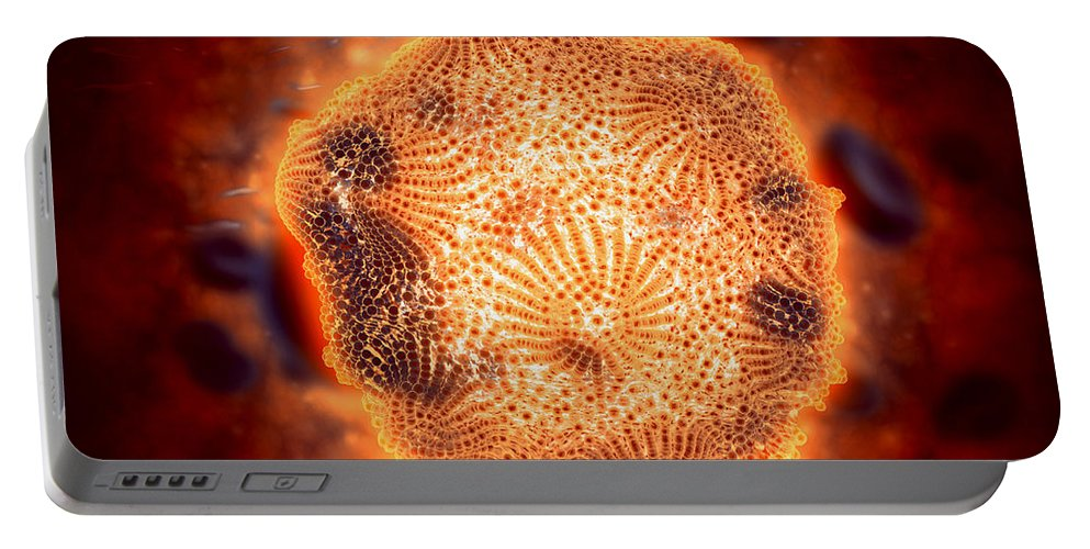 Protoplasm Portable Battery Charger featuring the digital art Microscopic View Of Canine Parvovirus by Stocktrek Images