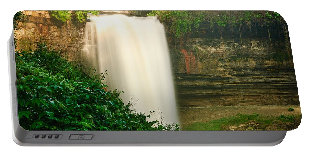 America Portable Battery Charger featuring the photograph Minnehaha Falls by Joe Mamer
