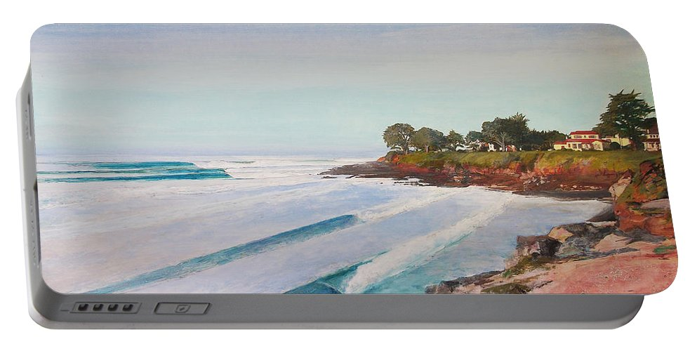 Santa Cruz Portable Battery Charger featuring the painting Mitchell's Cove by Peter Forbes
