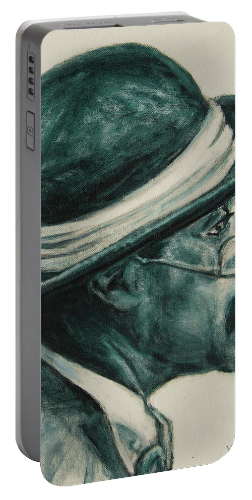 Black Portable Battery Charger featuring the painting Mr Bowler Mustache by Xueling Zou
