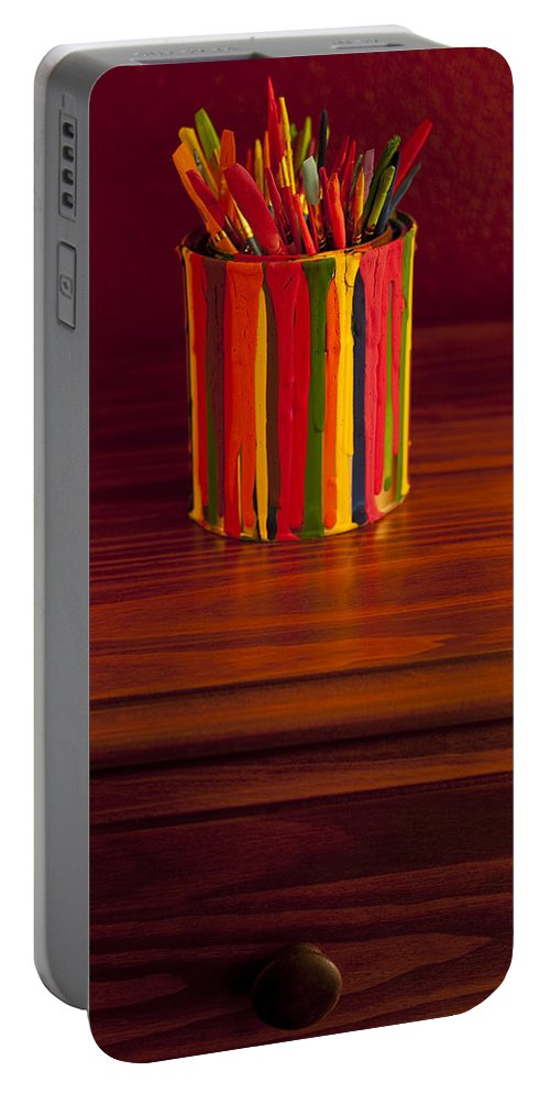 Art Portable Battery Charger featuring the photograph Multi Colored Paint Brushes by Jim Corwin