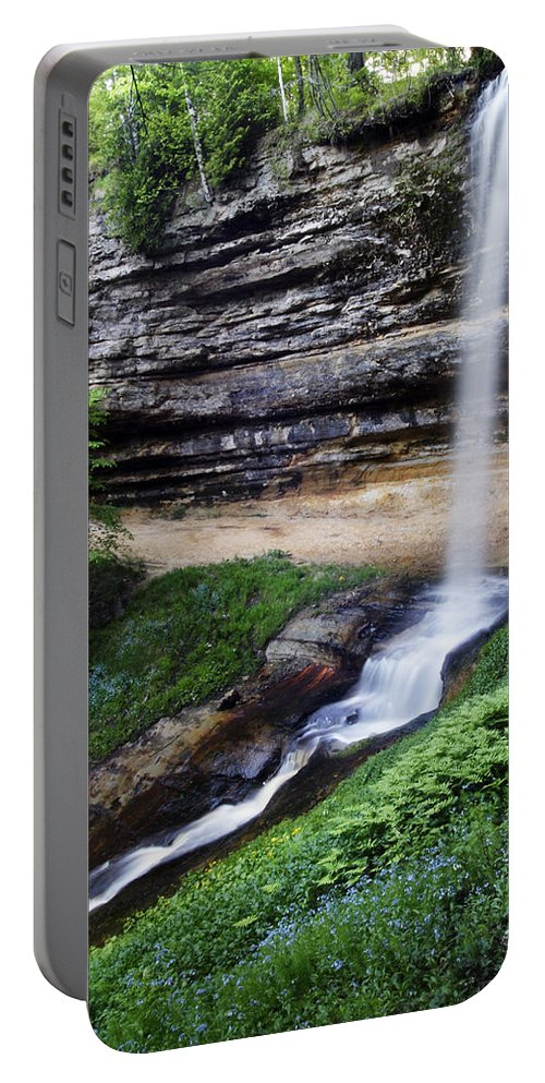 3scape Portable Battery Charger featuring the photograph Munising Falls by Adam Romanowicz