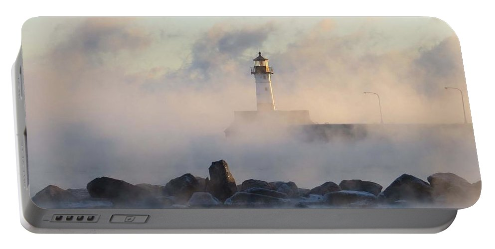 Lighthouse Portable Battery Charger featuring the photograph Mystic Morning by Alison Gimpel