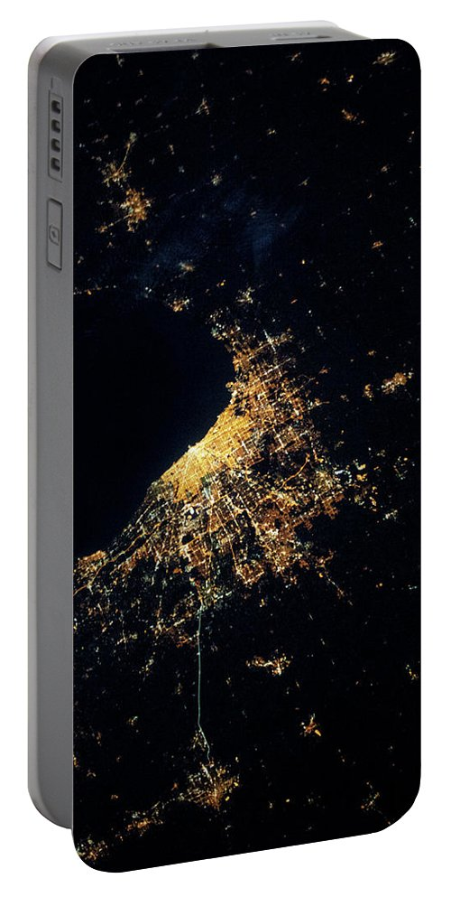 Photography Portable Battery Charger featuring the photograph Night Time Satellite Image Of Chicago by Panoramic Images