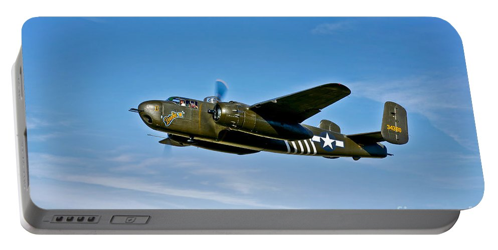 Horizontal Portable Battery Charger featuring the photograph North American B-25g Mitchell Bomber by Scott Germain