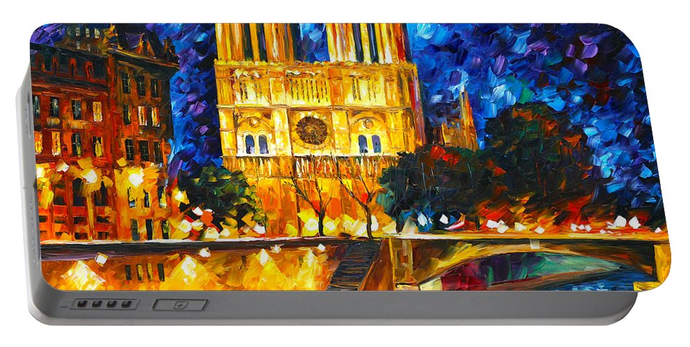 Notredame Portable Battery Charger featuring the painting Notre Dame De Paris by Leonid Afremov