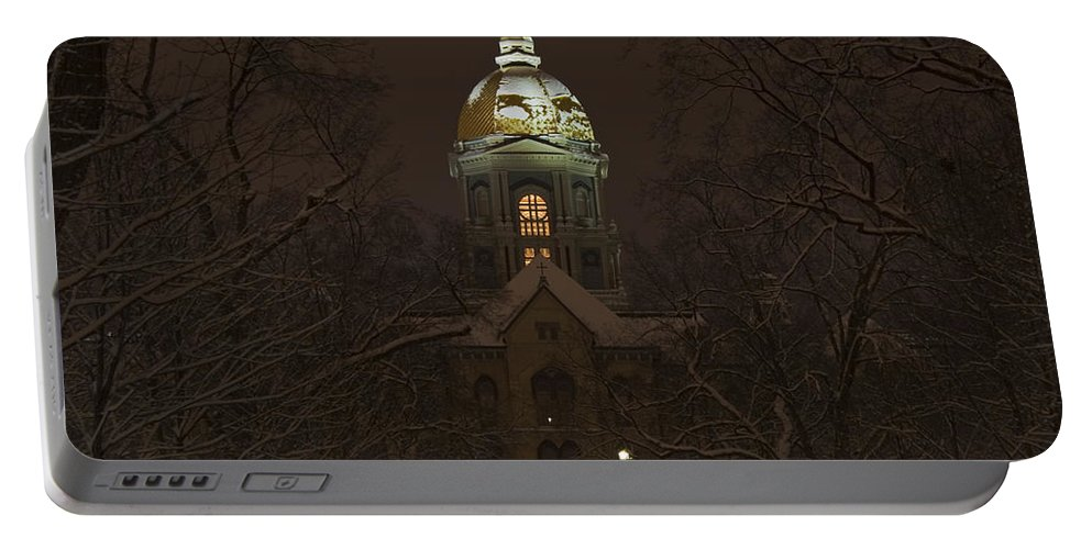 Notre Dame Portable Battery Charger featuring the photograph Notre Dame Golden Dome Snow by John Stephens