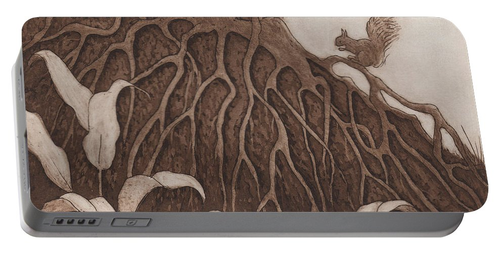 Tree Portable Battery Charger featuring the relief Nut Maze by Suzette Broad