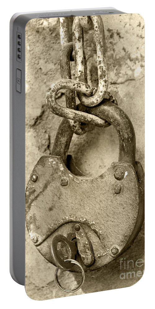 Chain Portable Battery Charger featuring the photograph Old Padlock by Lali Kacharava