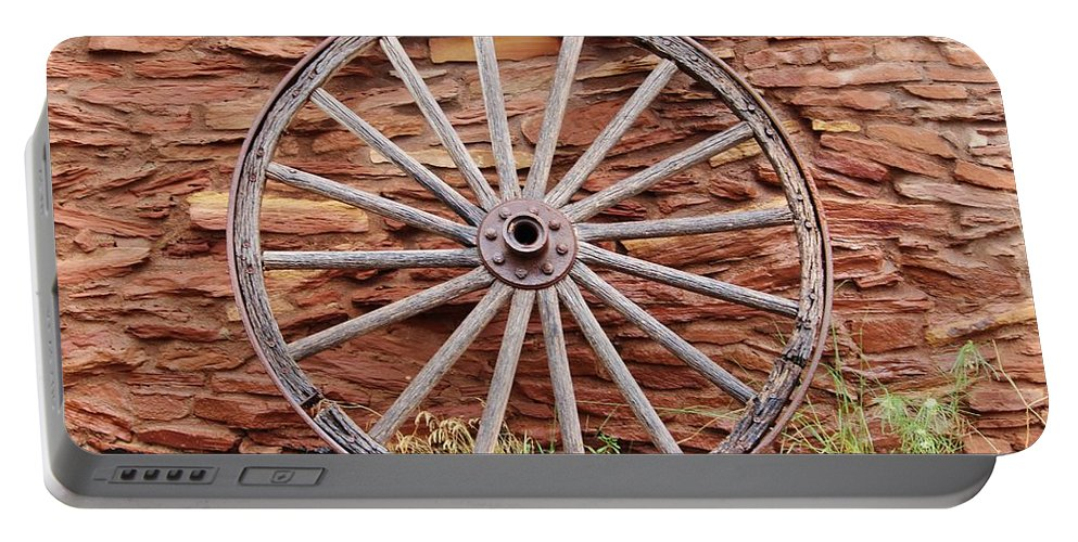 West Portable Battery Charger featuring the photograph Old Wagon Wheel 2 by Cynthia Guinn