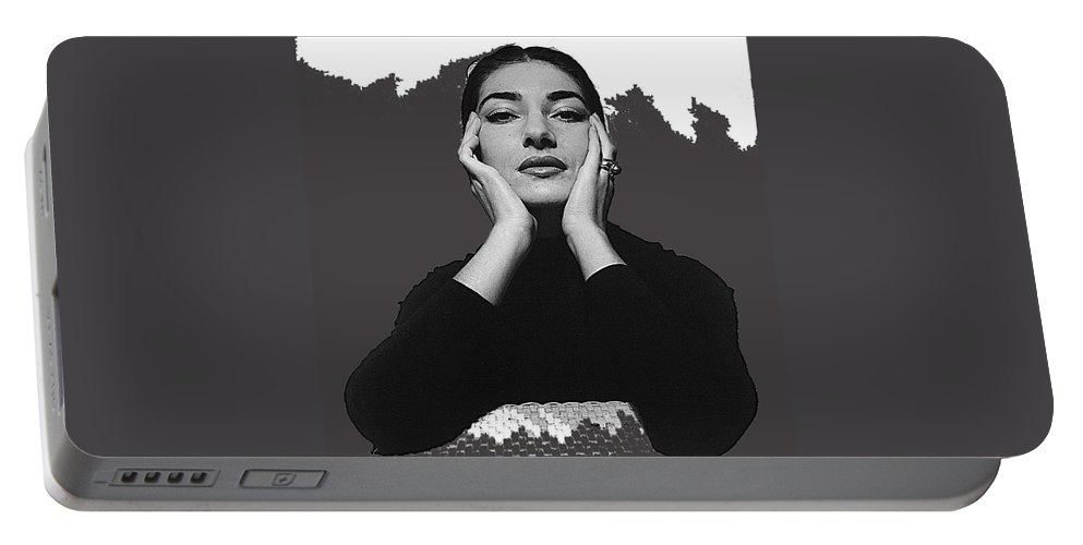 Opera Singer Maria Callas No Date Portable Battery Charger featuring the photograph Opera Singer Maria Callas No Date-2010 by David Lee Guss