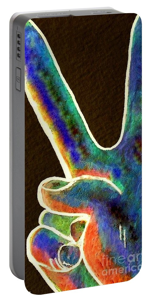 Peace Portable Battery Charger featuring the painting Peace by Eloise Schneider Mote