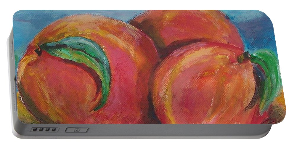 Impressionism Portable Battery Charger featuring the painting Peaches by Eric Schiabor