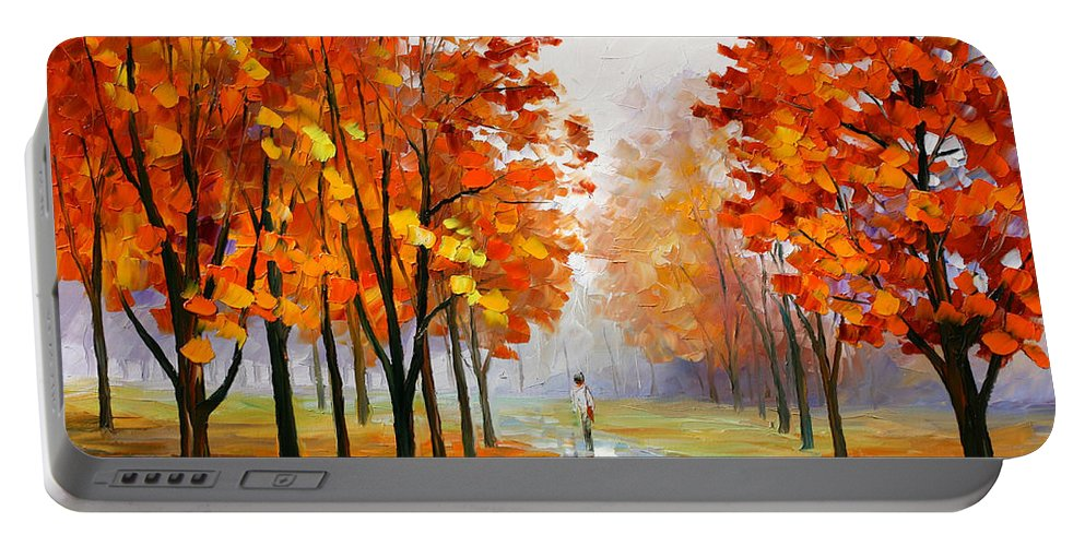 Pink Portable Battery Charger featuring the painting Pink Fog by Leonid Afremov