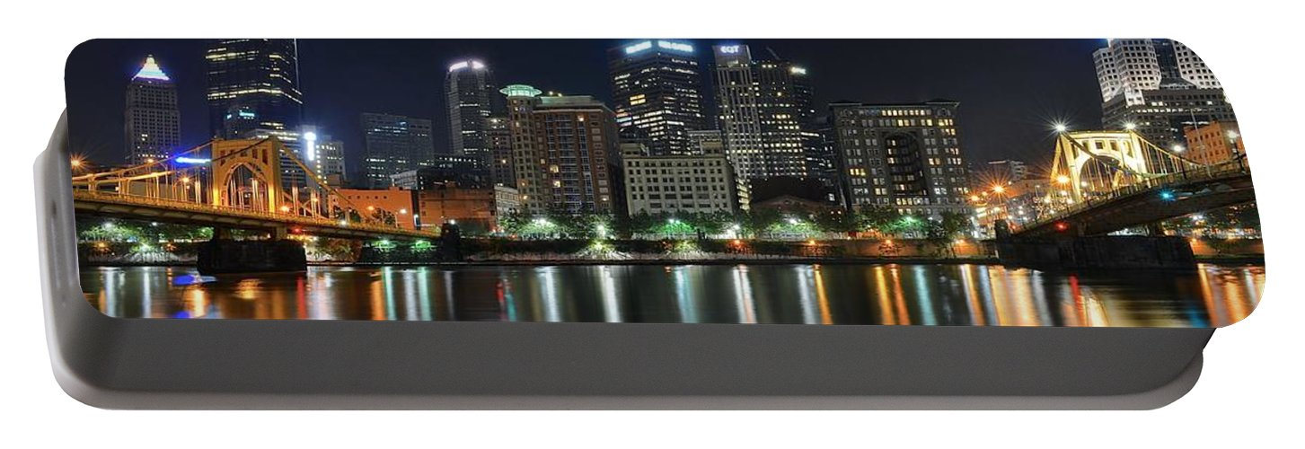 Pittsburgh Portable Battery Charger featuring the photograph Pittsburgh Panorama by Frozen in Time Fine Art Photography