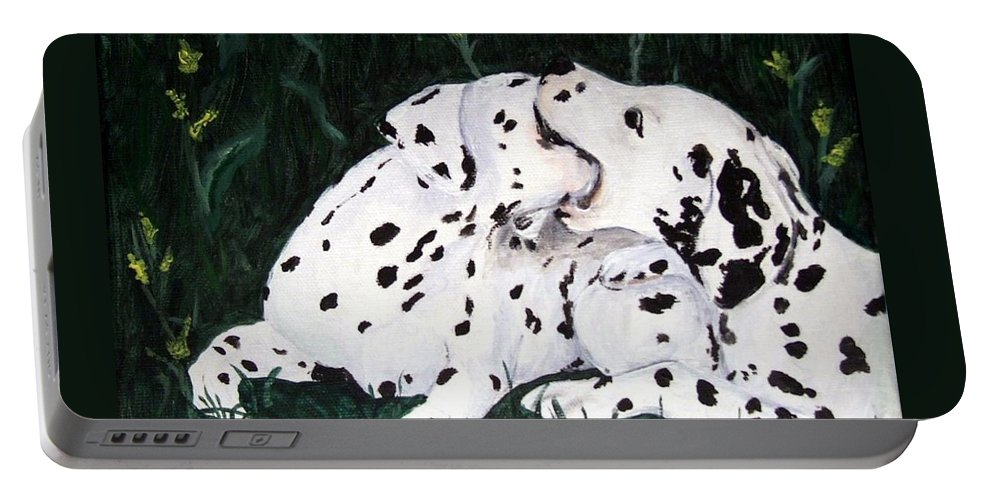 Dogs Portable Battery Charger featuring the painting Playful Pups by Jacki McGovern