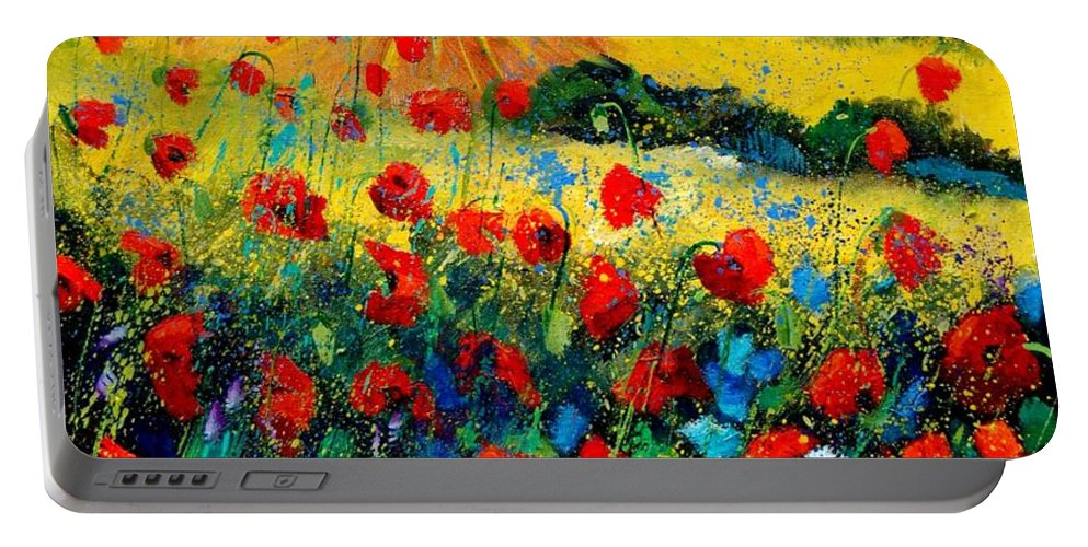 Flowersn Landscape Portable Battery Charger featuring the painting Poppies in Tuscany by Pol Ledent