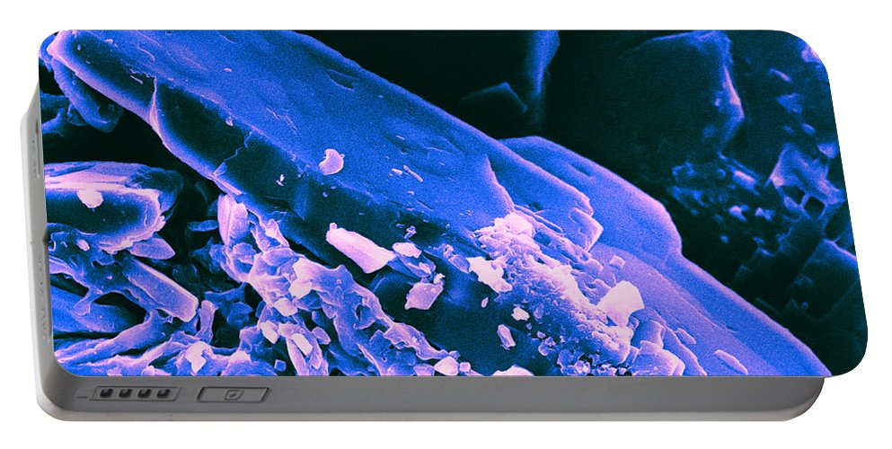 Science Portable Battery Charger featuring the photograph Progesterone Crystal Sem by David M. Phillips