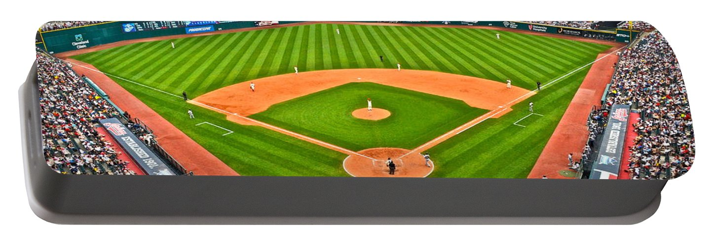 Cleveland Portable Battery Charger featuring the photograph Progressive Field by Frozen in Time Fine Art Photography