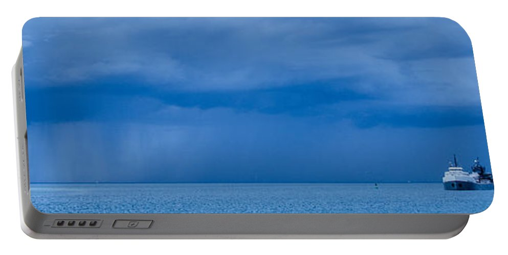 Fort Gratiot Lighthouse Portable Battery Charger featuring the photograph Racing The Storm by Gales Of November