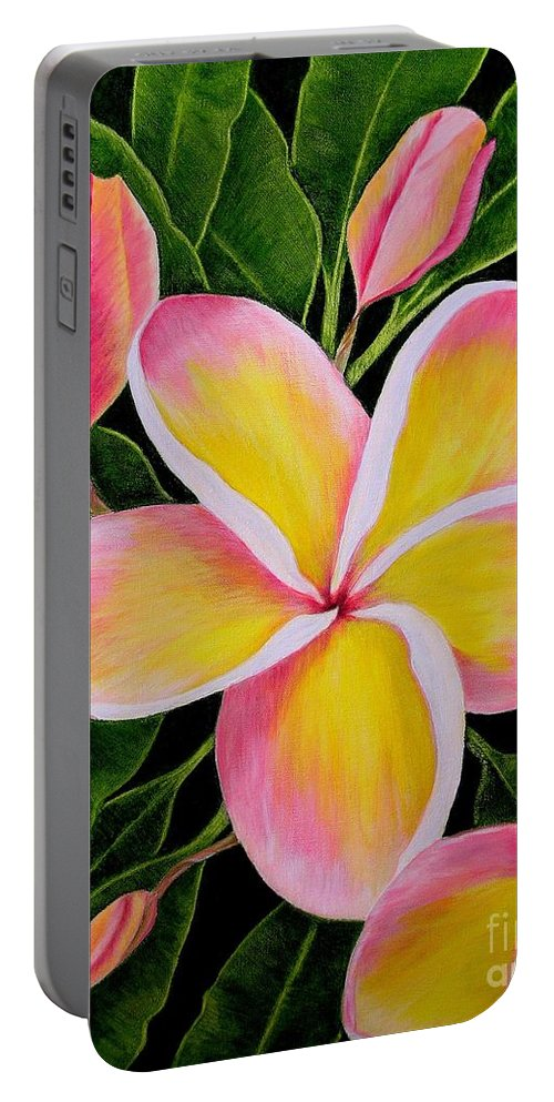 Flowers Portable Battery Charger featuring the painting Rainbow Plumeria by Mary Deal