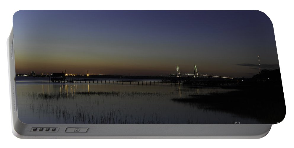 Ravenel Bridge Portable Battery Charger featuring the photograph Ravenel Bridge At Dusk by Dale Powell
