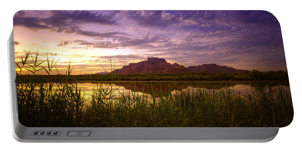 Sunset Portable Battery Charger featuring the photograph Red Mountain Reflections by Saija Lehtonen