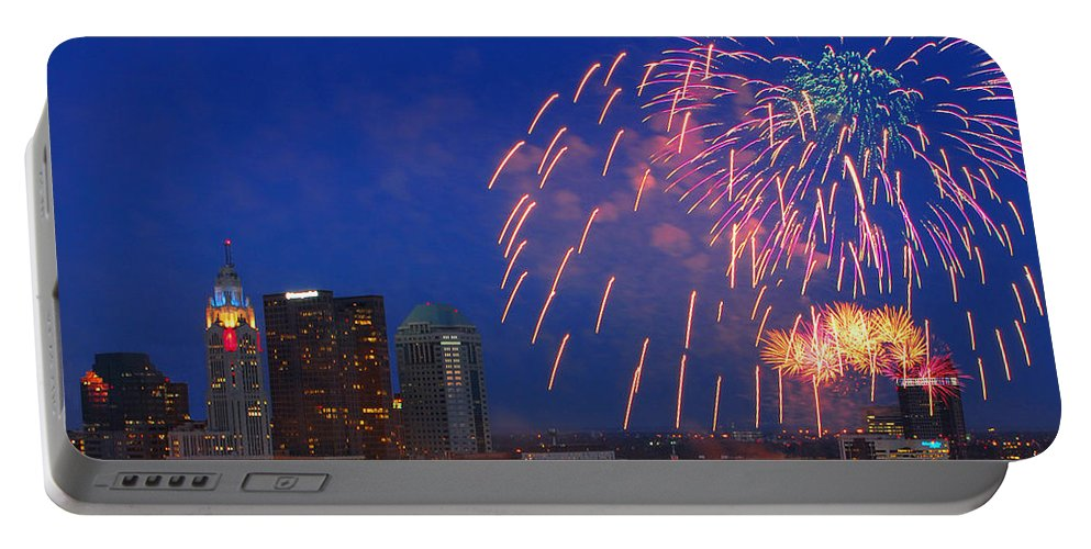 Red White Boom Portable Battery Charger featuring the photograph D21l-10 Red White And Boom Fireworks Display In Columbus Ohio by Ohio Stock Photography