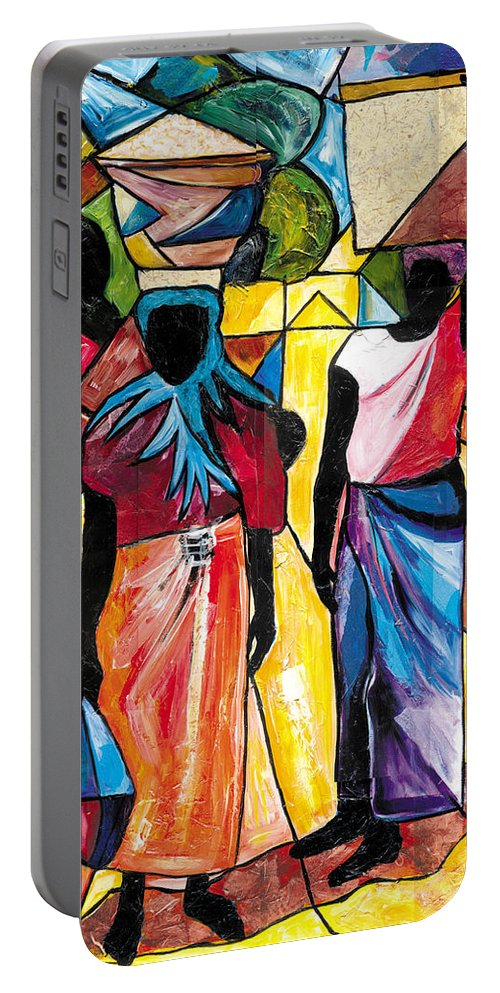 Everett Spruill Portable Battery Charger featuring the painting Road to the Market by Everett Spruill