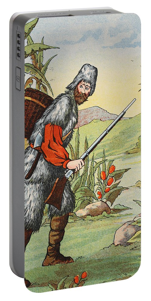 Robinson Crusoe Portable Battery Charger featuring the painting Robinson Crusoe by English School