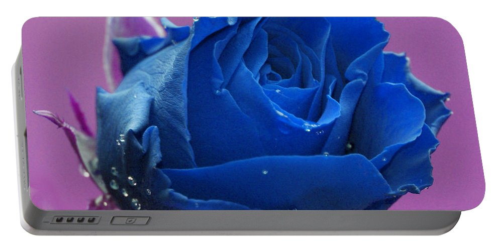 Blue Portable Battery Charger featuring the digital art Rose by Carol Lynch