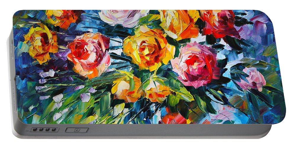 Rose Portable Battery Charger featuring the painting Roses by Leonid Afremov