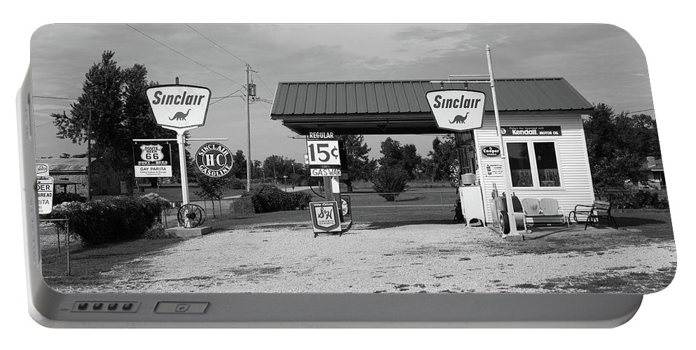 66 Portable Battery Charger featuring the photograph Route 66 Gas Station by Frank Romeo